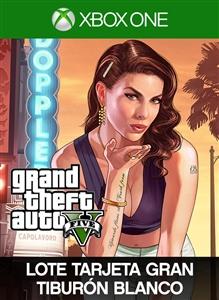 Carátula del juego Grand Theft Auto V y tarjeta Tiburón blanco
